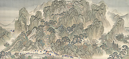 The Kangxi Emperor's Southern Inspection Tour, Scroll Three: Ji'nan to Mount Tai, Wang Hui (Chinese, 1632–1717) and assistants, Handscroll; ink and color on silk, China