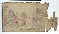 The Goddess Vasudhara Flanked by Kubera and a Fragmentary Durga, Double-sided scroll; ink and color on cloth, Nepal (Kathmandu Valley)