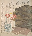 Flower Vase and Lacquer Box, Unidentified Artist, Polychrome woodblock print (surimono); ink and color on paper, Japan