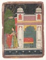 A Heroine Plucking a Flower:  Page from a Dispersed Nayikabheda, Ink and opaque watercolor on paper, India (Madhya Pradesh, Malwa)