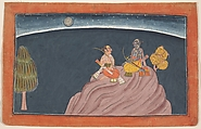 Rama and Lakshmana on Mount Pavarasana, Ink, opaque watercolor, and silver on paper, India (Punjab Hills, Bahu)
