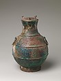 Wine container (Hu), Bronze inlaid with copper, China