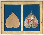 Album of Eighteen Arhat Paintings, Color on Bo tree leaves and mounted on blue paper, Tibet