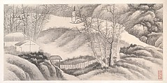 Landscapes of the Twelve Months, Gong Xian (Chinese, 1619–1689), Album of twelve painting leaves; ink on paper, China