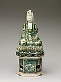 Figure of Guanyin, Porcelain painted in famille verte enamels on the biscuit, China