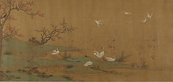 River Scene with Birds and Bamboo, Unidentified Artist, Handscroll; ink and mineral color on silk, China
