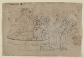 Mara Bringing the Demons to Life, Attributed to the Seu Family, Ink and wash on paper, India (Pahari Hills, Guler)