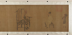 Xiao Yi Obtaining the Lanting Manuscript from the Monk Biancai, Unidentified Artist, Handscroll; ink and color on silk, China