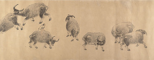 Water Buffaloes, Zhang Hong (Chinese, 1577–after 1652), Handscroll; ink on paper, China