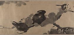 Birds in a lotus pond, Bada Shanren (Zhu Da) (Chinese, 1626–1705), Handscroll; ink on satin, China