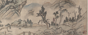 Landscape, Unidentified Artist, Handscroll; ink and color on paper, China