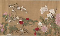 One Hundred Flowers, After Yun Shouping (Chinese, 1633–1690), Handscroll; ink and color on silk, China