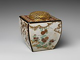 Ninsei-style Incense Burner with Flowers of the Four Seasons, Workshop of Nonomura Ninsei (Japanese, active ca. 1646–94), Stoneware with overglaze enamels, Japan