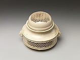 Incense Burner (koro) and Cover with Molded and Reticulated Design, Satsuma ware, earthenware with clear glaze, Japan
