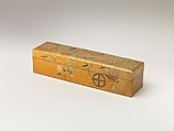 Covered Box with Design of Pine, Bamboo, and Cherry Blossom, Sprinkled gold on lacquer (maki-e), Japan