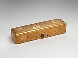 Letter Box with Pine, Bamboo, Plum Blossom, and Family Crests, Lacquered wood with gold and silver hiramaki-e, cut-out gold foil on nashiji ground (part of a wedding set), Japan