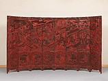 Screen with birthday celebration for General Guo Ziyi, Lu Guisheng (Chinese, active 1821–50), Carved red and black lacquer, China