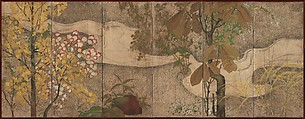Autumn Trees and Grasses by a Stream, One of a pair of six-panel folding screens; ink, color, gold, and silver on paper, Japan