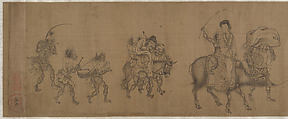 The Demon Queller Zhong Kui Giving His Sister Away in Marriage, Yan Geng (active late 13th century), Handscroll; ink on silk, China