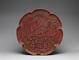 Tray with women and boys on a garden terrace, Carved red lacquer, China