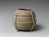 Four-Legged jar, Earthenware with green glaze and relief decoration (Sanage ware), Japan