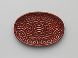 Tray with pommel scrolls, Carved red and black lacquer, China