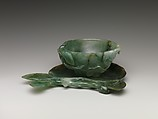 Peach-shaped Cup with Saucer, Jade (jadeite), China