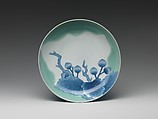Dish with Chestnuts and Oak Leaves, Porcelain with celadon glaze and underglaze blue (Hizen ware, Nabeshima type), Japan