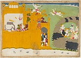 The Monkey Leader Angada Steals Ravana's Crown from His Fortress, Attributed to Manaku (active ca. 1725–60), Ink and opaque watercolor on paper, India (Punjab Hills, Guler)