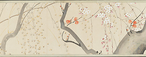 Flowers of the Four Seasons, After Sakai Hōitsu (Japanese, 1761–1828), Handscroll; ink and color on paper, Japan