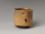 Tea Bowl with Decoration of Standing Cranes, Kiyomizu Rokubei I (Japanese, 1737–1799), Stoneware with inlaid design (Kyoto ware), Japan