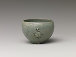 Cup, Stoneware with inlaid decoration of chrysanthemums under celadon glaze, Korea