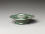 Stand, Stoneware with incised decoration of lotus petals under celadon glaze, Korea