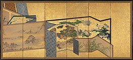 Screens within Screens, Pair of six-panel folding screens; ink, color, and gold on gilt paper, Japan