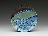 Dish with Cherry Blossoms and Textile Curtains, Porcelain with celadon glaze, partial brown glaze, and underglaze blue decoration (Hizen ware, Nabeshima type) , Japan