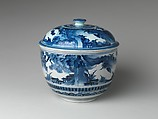 Tureen with Landscape, Porcelain painted with cobalt blue under transparent glaze (Hizen ware; Kakiemon type), Japan