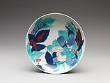 Dish with Design of Beans, Squash, and Eggplant, Porcelain with underglaze blue and overglaze enamels (Hizen ware, Nabeshima type) , Japan