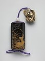Case (Inrō) with Design of Eulalia Grass and Deer, Case: powdered gold (maki-e), gold, silver, and gold foil on black lacquer with shell inlay; Fastener (ojime): white agate; Toggle (netsuke): ivory carved in the shape of an eagle catching a fox, Japan