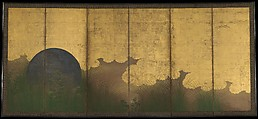 The Plains of Musashi, Six-panel folding screen; ink, color, gold, silver, and gold leaf on paper , Japan