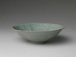 Bowl with foliate rim and peony decoration, Stoneware with mold-impressed and incised design under celadon glaze, Korea