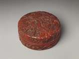 Box with long-tailed birds and peonies, Carved red lacquer, China