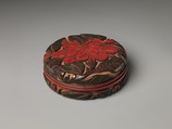 Box with camellia, Carved red and green lacquer, China