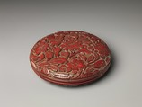 Box with Camellias, Carved red lacquer, China