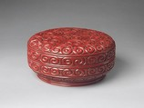 Box with pommel scroll design, Carved red and black lacquer, China