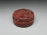 Box with lychees, Carved red and black lacquer, China