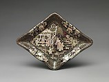 Lozenge-Shaped Dish with Garden Scene, Black lacquer with mother-of-pearl inlay and gold and silver foil, China