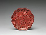 Dish with peonies, Carved red lacquer, China
