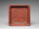 Square tray with birds in a garden, Carved red and yellow lacquer, China