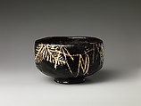 Teabowl, Style of Ogata Kenzan (Japanese, 1663–1743), Pottery covered with glaze and decorated with designs in slip (Kyoto ware), Japan