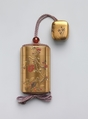 Inrō with Design of Blossoming Plum Tree, Hara Yōyūsai (Japanese, 1772–1845), Sprinkled gold lacquer with gold, silver, and red makie, takamakie, and coral inlay Ojime: bead; tortoiseshell   Netsuke: box with decoration of violets; gold makie lacquer with gold and silver makie, Japan